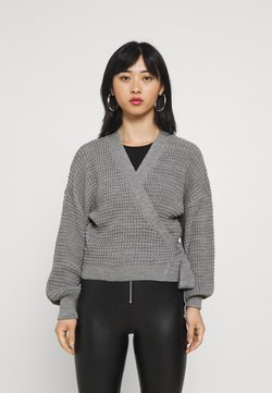 Missguided Petite - WRAP OVER TIE - Gilet - grey