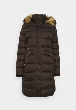Marc O'Polo - COAT LONG FILLED HOOD FLAP POCKETS - Daunenmantel - dark chocolate