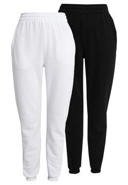 Missguided - 2 PACK BASIC JOGGER - Jogginghose - white/black
