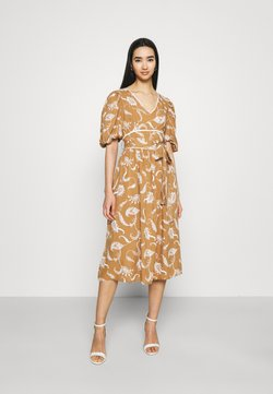 Glamorous - MIDI DRESSES WITH PUFF SLEEVES LOW V-NECK AND TIE BELT - Freizeitkleid - brown