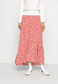 Abercrombie & Fitch - TIERED HIGH SLIT MAXI SKIRT - Maksihame - red