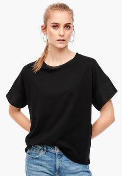 Q/S designed by - MIT CHIFFON-DETAILS - T-Shirt basic - black