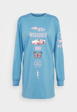 Missguided - OVERSIZED DRESS LS BUTTERFLY CAR - Vestido ligero - blue