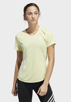 adidas Performance - RUN IT 3-STRIPES FAST T-SHIRT - Camiseta estampada - yellow
