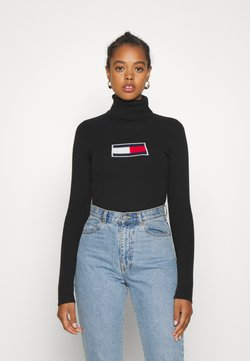 Tommy Jeans - FLAG ROLL NECK - Neule - black