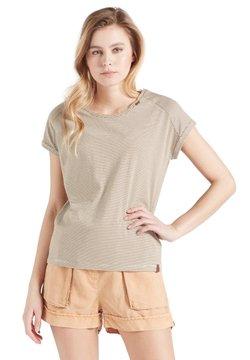 khujo - BABSI - T-Shirt print - weiß ocker gestreift