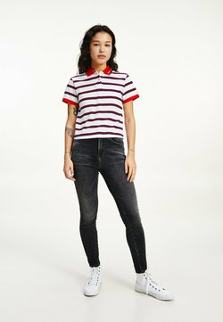 Tommy Jeans - CONTRAST COLLAR CROPPED  - Poloshirt - white / multi