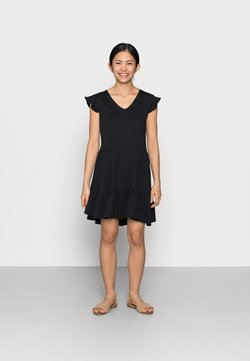 ONLY Petite - ONLMAY LIFE CAP SLEEVES FRILL DRESS - Vestido ligero - black