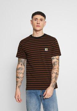 Carhartt WIP - PARKER POCKET - T-Shirt print - black/brandy