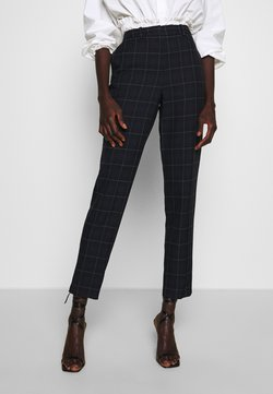 Dorothy Perkins Tall - GRID CHECK ANKLE GRAZER - Stoffhose - navy