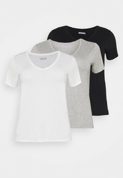 Anna Field Curvy - 3 PACK - T-paita - black /white/light grey