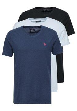 Abercrombie & Fitch - FRINGE CREW 3 PACK - Basic T-shirt - black/light blue/dark blue