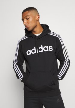 adidas Performance - 3 STRIPES ESSENTIALS SPORTS HOODED - Kapuzenpullover - black/white