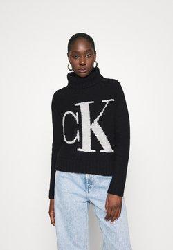 Calvin Klein Jeans - LOGO ROLL NECK - Sweter - black