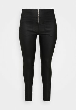 Pieces Curve - PCROXY ZIP COATED LEGGING  - Leggings - Hosen - black