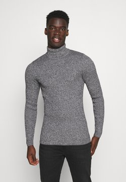 Pier One - MUSCLE FIT TURTLE - Stickad tröja - mottled grey
