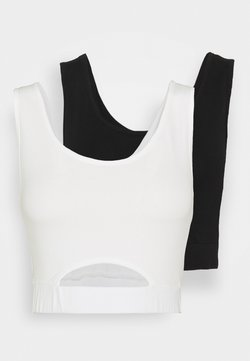 KENDALL + KYLIE - CROPPED HOLE 2 PACK - Top - black/white