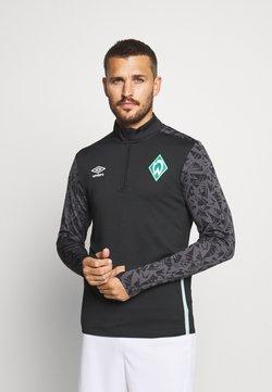 Umbro - WERDER BREMEN HALF ZIP - Vereinsmannschaften - black/carbon/ice green