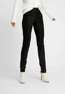 YAS Tall - ZEBA CROCO - Leather trousers - black
