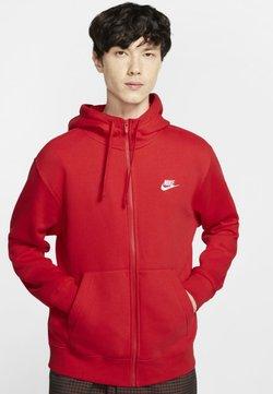Nike Sportswear - CLUB HOODIE - Sudadera con cremallera - red/white
