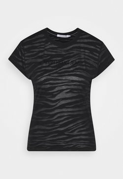 Calvin Klein Jeans - BURN OUT ZEBRA LOGO - T-Shirt print - black