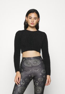 Topshop - FLUFFY CROP - Strickpullover - black