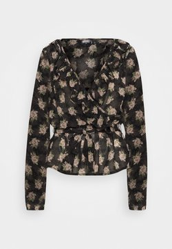 Missguided Tall - RUFFLE LONG SLEEVE WRAP FLORAL PRINT - Bluse - black