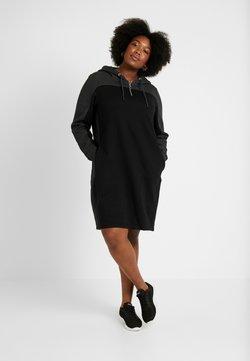 Urban Classics Curvy - LADIES TONE HOODED DRESS - Freizeitkleid - black/charcoal