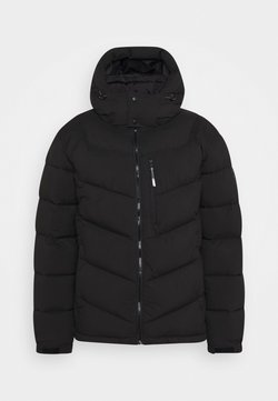 Scotch & Soda - REPREVE MID-LENGTH QUITLED PADDED JACKET WITH CONTRAST HOOD - Winterjacke - black
