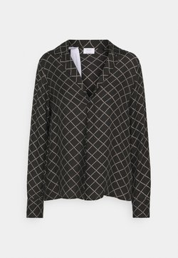 Marc O'Polo PURE - PRINTED  BLEND LAPEL - Bluse - black