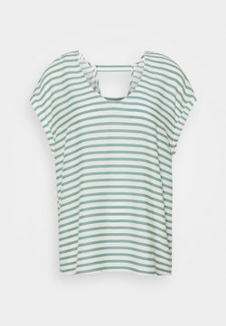 TOM TAILOR DENIM - V NECK  - T-Shirt print - mineral blue/white