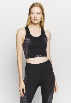 South Beach - SCOOP NECK MUSCLE BACK LONGLINE - Sujetador deportivo - black/cocoa