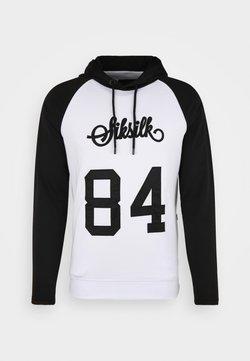 SIKSILK - OVERHEAD RETRO HOODIE - Bluza z kapturem - white/black