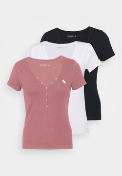 Abercrombie & Fitch - ICON HENLEY 3 PACK - T-Shirt basic - pink/white/navy