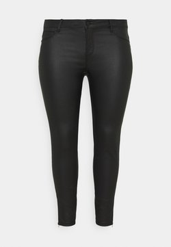 Noisy May Curve - NMKIMMY NW COATED ANKLE PANTS - Pantalones - black
