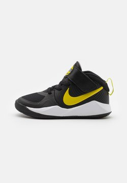 Nike Performance - TEAM HUSTLE 9 UNISEX  - Zapatillas de baloncesto - black/high voltage/light smoke grey
