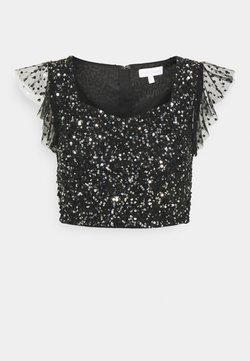 Maya Deluxe - FLUTTER SLEEVE DELICATE SEQUIN CROP - Camiseta estampada - black