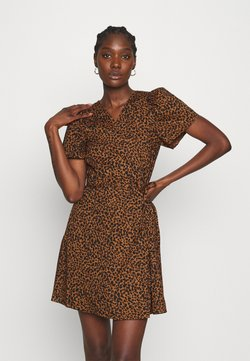 Madewell - WRAP DRESS IN LEOPARD - Freizeitkleid - brown