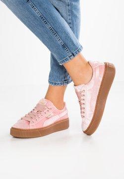 Puma - BASKET PLATFORM VS VELVET - Sneaker low - silver/pink/gold