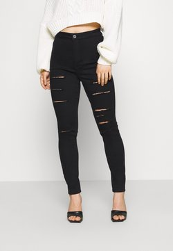 Missguided Petite - VICE MULTI HIGH WAISTED  - Vaqueros pitillo - black