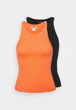 Monki - EDDA SINGLET 2 PACK - Débardeur - orange/black dark solid