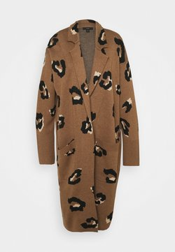 J.CREW - LEOPARD RORY OPEN COAT - Vest - dark camel/sand/black
