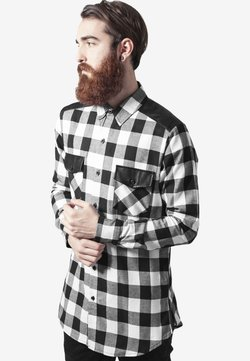 Urban Classics - SIDE ZIP LEATHER SHOULDER FLANELL - Hemd - black/white