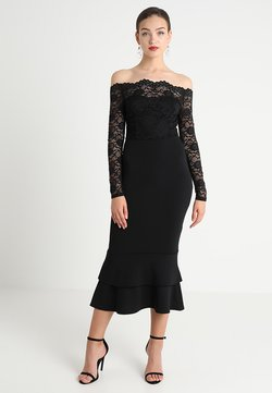 Club L London - EYELASH BARDOT DIP HEM DRESS - Occasion wear - black
