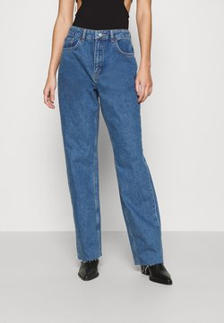 NU-IN - RAW HEM HIGH RISE  - Relaxed fit jeans - mid blue wash