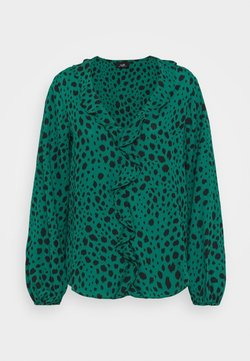 Wallis - PEBBLE RUFFLE ANIMAL - Blouse - green