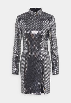 Missguided - FOIL SEQUIN HIGH NECK MINI DRESS - Cocktail dress / Party dress - black