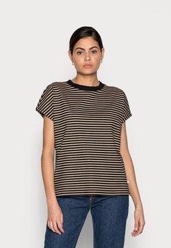 TOM TAILOR DENIM - WITH CONTRAST NECK - T-Shirt print - black/beige