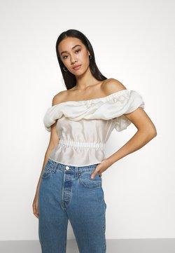 Topshop - BUBBLE FRILL BARDOT - Bluse - off-white