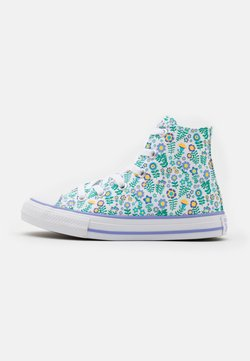 Converse - CHUCK TAYLOR ALL STAR FLORAL - Korkeavartiset tennarit - white/twilight pulse/citron pulse